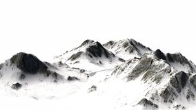 Snowy Mountains - Mountain Peak - isolated on white Background.  Royalty Free Stock Images