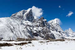 Snowy mountains near Dingboche village on the way. Royalty Free Stock Images