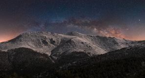 Snowy mountains in the night. Panoramic view of a night landscape with the arch of Milky Way in Spain royalty free stock photography