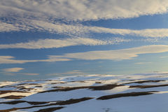 Snowy Mountains of North Cape Stock Photo