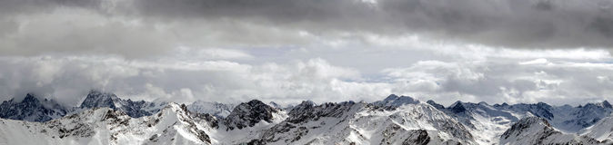 Snowy mountains panorama Royalty Free Stock Photo