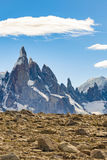 Snowy Mountains. Parque Nacional Los Glaciares, Patagonia - Arge. Beautiful patagonian andes range landscape with famous Cerro Torre mountain at Santa Cruz Stock Image