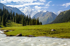 Snowy mountains peak and Karakol river Royalty Free Stock Photography