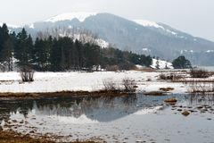 Snowy mountains reflection view of Abant lake Bolu Turkey Royalty Free Stock Image