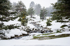 Snowy mountains with river in Madrid. Royalty Free Stock Photo