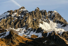 Snowy mountains and rocks at Gourette in the Pyrenees, France Royalty Free Stock Photo