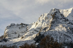Snowy mountains and rocks at Gourette in the Pyrenees, France Stock Photography