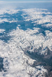 Snowy mountains seen from above. Mountains with snow, seen from above Royalty Free Stock Photography