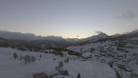 Aerial view of Sestriere Italy stock video footage