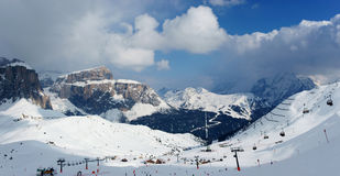 Snowy mountains. Ski resort. Winter mountains. Snowy slopes at skiing resort Stock Photography