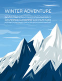 Snowy mountains and sky vertical banner. Royalty Free Stock Images