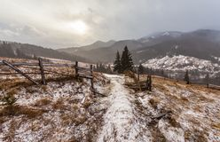 Snowy mountains before storm. Royalty Free Stock Image