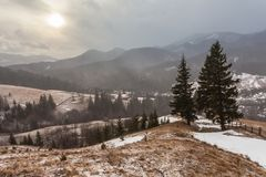 Snowy mountains before storm. Stock Image
