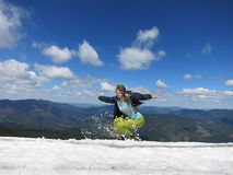 Snowy mountains in the summer Stock Image