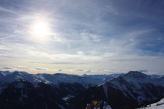 Snowy mountains. On a sunny day Royalty Free Stock Image