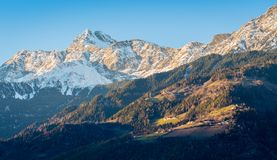 Snowy mountains surrounding Merano. Trentino Alto Adige, northern Italy. Merano or Meran is a town and comune in South Tyrol, northern Italy stock photography
