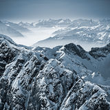 Snowy Mountains in the Swiss Alps. View from Mount Titlis, Switzerland stock photo