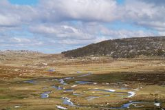 The Snowy mountains  at Thredbo. A pattern of creeks in the Snowy mountains above the village Thredbo near Jindabyne in New South Wales in Australia Stock Photo