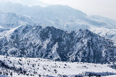 Snowy mountains of Tien Shan in winter Stock Images
