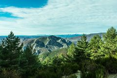 Snowy mountains top on sunny day royalty free stock photos