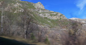 Snowy mountains tops vall de nuria train view 4k stock video footage