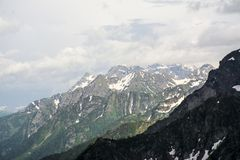 Snowy mountains view royalty free stock photography