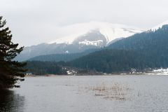 Snowy mountains view of Abant lake Bolu Turkey Royalty Free Stock Photo
