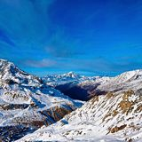 Snowy Mountains. Views from the glacier, Tignes Royalty Free Stock Photo
