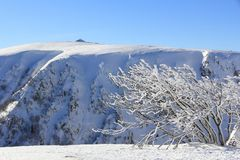Snowy mountains of Vosges in France. The massif of Vosges and the Hohneck in winter stock images