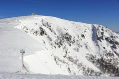 Snowy mountains of Vosges in France. The massif of Vosges and the Hohneck in winter stock photos
