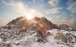 Snowy mountains. Winter landscape. 3d render Stock Photos