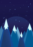 Snowy Mountains In Winter Night Landscape Royalty Free Stock Image