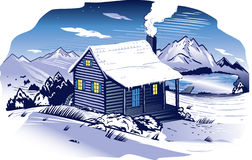 Snowy Mountainside Cabin Royalty Free Stock Photos