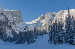 Snowy Mountans Loom over Dream Lake Royalty Free Stock Image