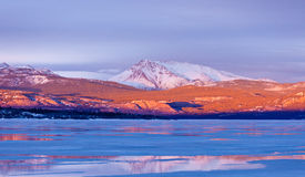 Snowy Mt Laurier frozen Lake Laberge Yukon Canada. Warm evening light on snow-covered Mount Laurier on the eastern shore of frozen Lake Laberge, Yukon Territory Royalty Free Stock Images