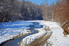 Snowy muddy trace near curved river Stock Image