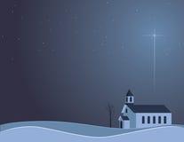 Snowy-Nachtkirche Lizenzfreies Stockfoto