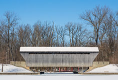 Snowy New Brownsville Covered Bridge Stock Photo