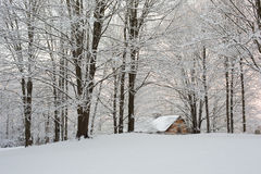 Snowy New England Sunset stock photography