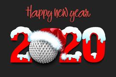 Snowy New Year numbers 2020 and golf ball