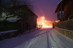 Snowy night in Brashlian village. Strandzha mountain, Bulgaria. Snowy night in Brashlian village Stock Photos