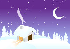 Snowy night christmas background. Royalty Free Stock Photo