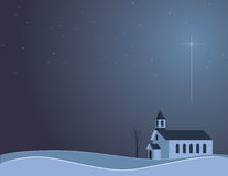 Snowy Night Church Royalty Free Stock Photo
