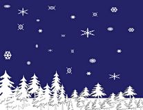 Snowy Night Illustration. A computer generated snowy night illustration, snow covered trees and snow flakes Stock Photo
