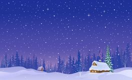 Snowy night landscape background. Vector cartoon illustration of a snow covered village in a forest, snowy night background royalty free illustration