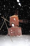 Snowy Night Windmill Royalty Free Stock Photography