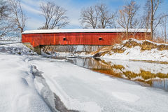 Snowy Oakalla Covered Bridge Royalty Free Stock Images