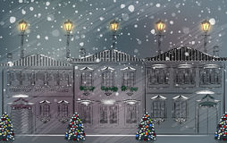 Snowy old town at Christmas Stock Images