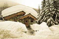 The snowy Old Village of Val d`Isère Stock Photo