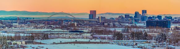 Snowy Panorama of Portland Oregon. Snowy Landscape of Portland Oregon USA overlooking Swan Island royalty free stock photo